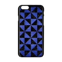 Triangle1 Black Marble & Blue Brushed Metal Apple Iphone 6/6s Black Enamel Case by trendistuff