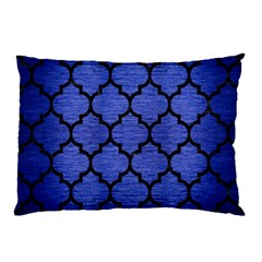 Tile1 Black Marble & Blue Brushed Metal (r) Pillow Case by trendistuff