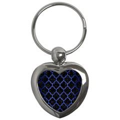 Tile1 Black Marble & Blue Brushed Metal Key Chain (heart) by trendistuff