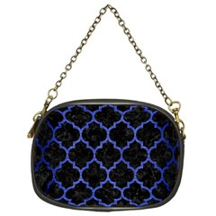 Tile1 Black Marble & Blue Brushed Metal Chain Purse (one Side) by trendistuff