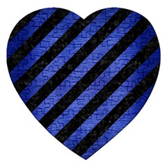 Stripes3 Black Marble & Blue Brushed Metal Jigsaw Puzzle (heart) by trendistuff