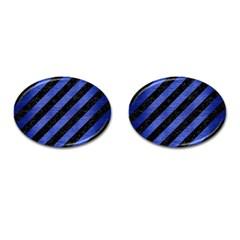 Stripes3 Black Marble & Blue Brushed Metal Cufflinks (oval) by trendistuff