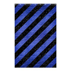 Stripes3 Black Marble & Blue Brushed Metal Shower Curtain 48  X 72  (small) by trendistuff