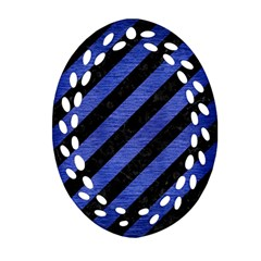 Stripes3 Black Marble & Blue Brushed Metal Oval Filigree Ornament (two Sides) by trendistuff