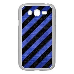 Stripes3 Black Marble & Blue Brushed Metal Samsung Galaxy Grand Duos I9082 Case (white) by trendistuff