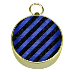 Stripes3 Black Marble & Blue Brushed Metal Gold Compass by trendistuff