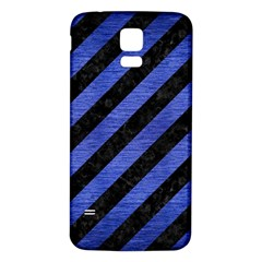 Stripes3 Black Marble & Blue Brushed Metal Samsung Galaxy S5 Back Case (white) by trendistuff