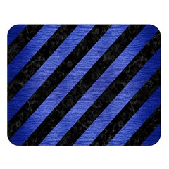 Stripes3 Black Marble & Blue Brushed Metal Double Sided Flano Blanket (large) by trendistuff