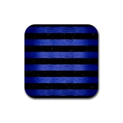 Stripes2 Black Marble & Blue Brushed Metal Rubber Square Coaster (4 Pack) by trendistuff