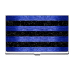 Stripes2 Black Marble & Blue Brushed Metal Business Card Holder by trendistuff
