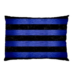 Stripes2 Black Marble & Blue Brushed Metal Pillow Case by trendistuff