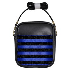 Stripes2 Black Marble & Blue Brushed Metal Girls Sling Bag by trendistuff