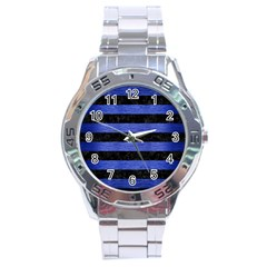 Stripes2 Black Marble & Blue Brushed Metal Stainless Steel Analogue Watch by trendistuff