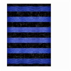 Stripes2 Black Marble & Blue Brushed Metal Large Garden Flag (two Sides) by trendistuff