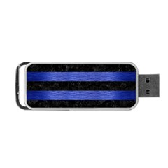 Stripes2 Black Marble & Blue Brushed Metal Portable Usb Flash (two Sides) by trendistuff