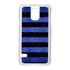 Stripes2 Black Marble & Blue Brushed Metal Samsung Galaxy S5 Case (white) by trendistuff