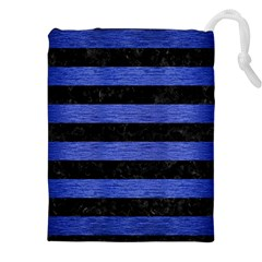 Stripes2 Black Marble & Blue Brushed Metal Drawstring Pouch (xxl) by trendistuff