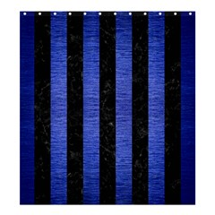 Stripes1 Black Marble & Blue Brushed Metal Shower Curtain 66  X 72  (large) by trendistuff