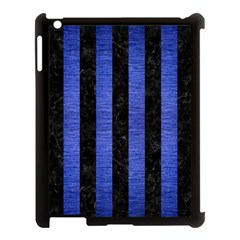 Stripes1 Black Marble & Blue Brushed Metal Apple Ipad 3/4 Case (black) by trendistuff