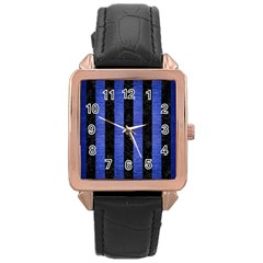 Stripes1 Black Marble & Blue Brushed Metal Rose Gold Leather Watch  by trendistuff