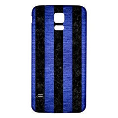 Stripes1 Black Marble & Blue Brushed Metal Samsung Galaxy S5 Back Case (white) by trendistuff