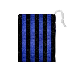 Stripes1 Black Marble & Blue Brushed Metal Drawstring Pouch (medium) by trendistuff