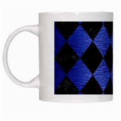 Square2 Black Marble & Blue Brushed Metal White Mug by trendistuff