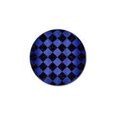 Square2 Black Marble & Blue Brushed Metal Golf Ball Marker by trendistuff