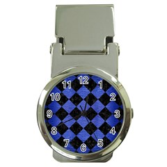 Square2 Black Marble & Blue Brushed Metal Money Clip Watch by trendistuff