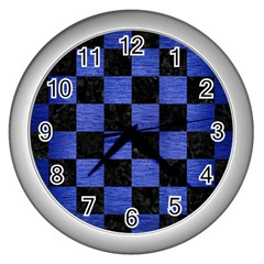 Square1 Black Marble & Blue Brushed Metal Wall Clock (silver) by trendistuff