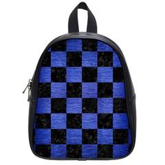 Square1 Black Marble & Blue Brushed Metal School Bag (small) by trendistuff