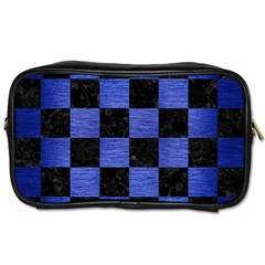 Square1 Black Marble & Blue Brushed Metal Toiletries Bag (two Sides) by trendistuff