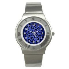 Skin5 Black Marble & Blue Brushed Metal Stainless Steel Watch by trendistuff