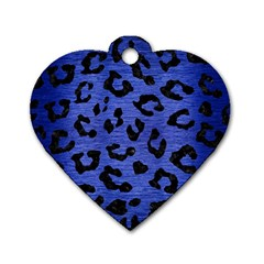Skin5 Black Marble & Blue Brushed Metal Dog Tag Heart (one Side) by trendistuff