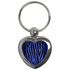 Skin4 Black Marble & Blue Brushed Metal Key Chain (heart) by trendistuff