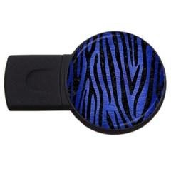 Skin4 Black Marble & Blue Brushed Metal Usb Flash Drive Round (2 Gb) by trendistuff