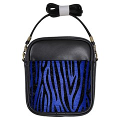 Skin4 Black Marble & Blue Brushed Metal Girls Sling Bag by trendistuff