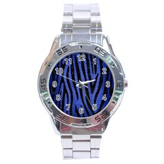 Skin4 Black Marble & Blue Brushed Metal Stainless Steel Analogue Watch by trendistuff