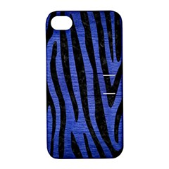 Skin4 Black Marble & Blue Brushed Metal Apple Iphone 4/4s Hardshell Case With Stand by trendistuff