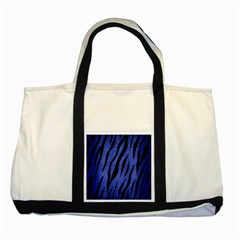 Skin3 Black Marble & Blue Brushed Metal (r) Two Tone Tote Bag by trendistuff