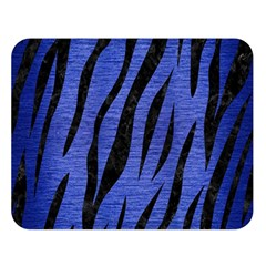 Skin3 Black Marble & Blue Brushed Metal (r) Double Sided Flano Blanket (large) by trendistuff