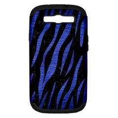 Skin3 Black Marble & Blue Brushed Metal Samsung Galaxy S Iii Hardshell Case (pc+silicone) by trendistuff