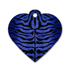 Skin2 Black Marble & Blue Brushed Metal (r) Dog Tag Heart (one Side) by trendistuff