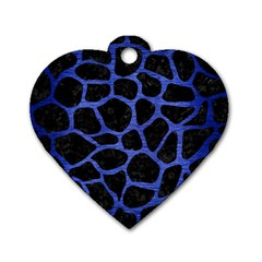 Skin1 Black Marble & Blue Brushed Metal (r) Dog Tag Heart (two Sides) by trendistuff