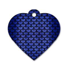 Scales3 Black Marble & Blue Brushed Metal (r) Dog Tag Heart (one Side) by trendistuff