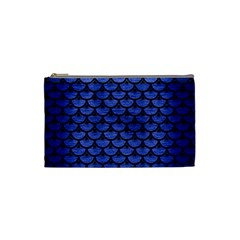 Scales3 Black Marble & Blue Brushed Metal (r) Cosmetic Bag (small) by trendistuff