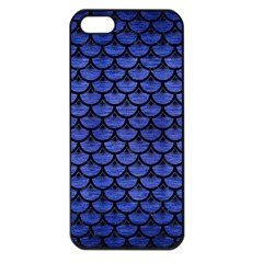 Scales3 Black Marble & Blue Brushed Metal (r) Apple Iphone 5 Seamless Case (black) by trendistuff
