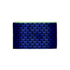 Scales3 Black Marble & Blue Brushed Metal (r) Cosmetic Bag (xs) by trendistuff