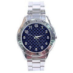 Scales3 Black Marble & Blue Brushed Metal Stainless Steel Analogue Watch by trendistuff