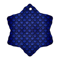 Scales2 Black Marble & Blue Brushed Metal (r) Snowflake Ornament (two Sides) by trendistuff